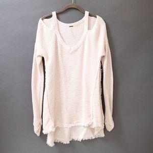 Cold Shoulder Knit V-Neck Sweater (Free People)